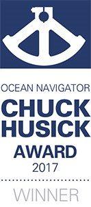 Chuck Husick logo - ocean navigator slogan