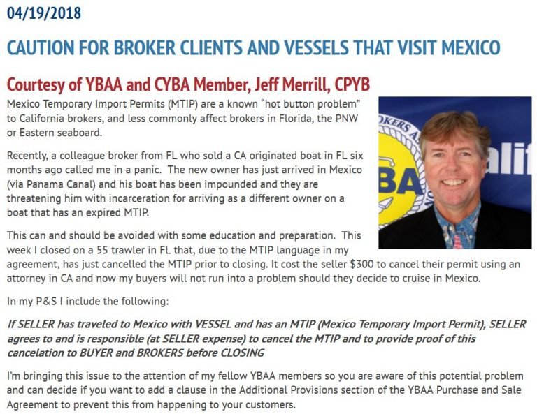 YBAA Jeff MTIP article regarding caution for broker clients and vessels that visit mexico