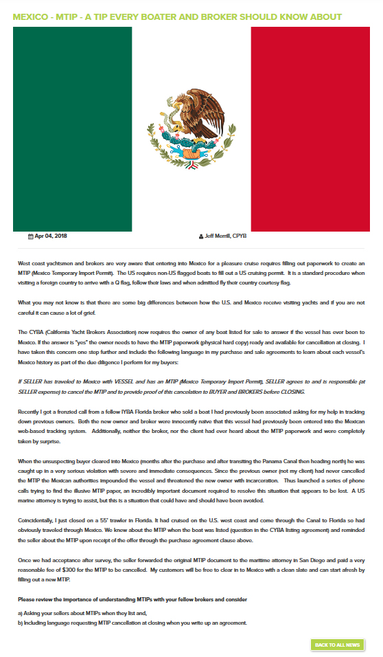 Mexico - MTIP flag and article