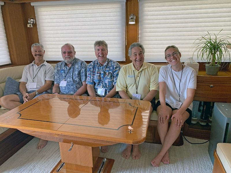 Christopher Bruce, John Hoffman, Jeff Merrill, Larry Friedman, and Elle Conwell aboard Spyhop II.