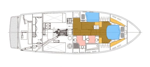 LAYOUT - Lower Deck – Engine Room, Staterooms, Heads