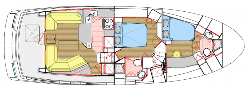 LAYOUT: Main Deck – Saloon, Galley, Staterooms