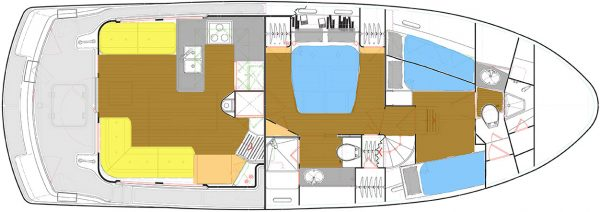 Nordhavn 43 Layout: Main and Lower Deck – Saloon, Galley, Staterooms and Heads