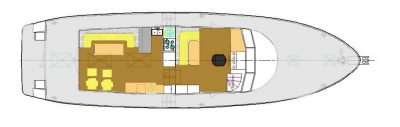 Layout - Main Deck – Saloon, Galley, and Raised Pilothouse